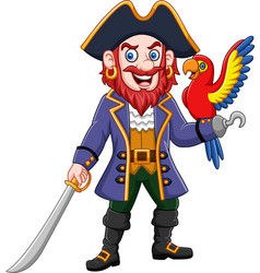 cartoon pirate captain and macaw bird vector image