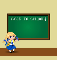 cartoon school girl near blackboard with chalk vector image