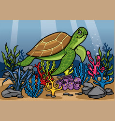Cartoon turtle underwater with beautiful coral vector