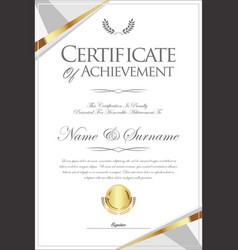 certificate or diploma retro template 07 vector image