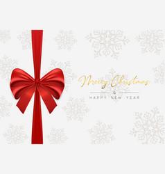 christmas and new year red ribbon greeting card vector image