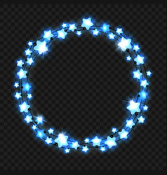 christmas blue star light garland vector image