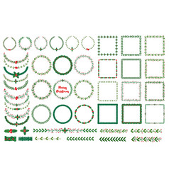 christmas wreath frames brushes vector image
