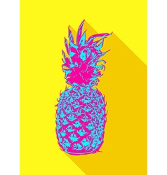 Colorful pop art pineapple fruit design vector