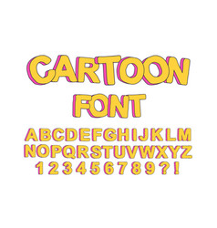 cute cartoon english font vector image