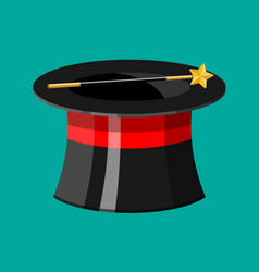 cylinder hat with magical stick vector image