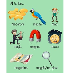 Different words for letter M vector