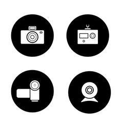 Digital cameras black icons set vector