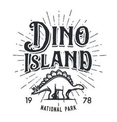 Dinosaur island logo concept Stegosaurus vector
