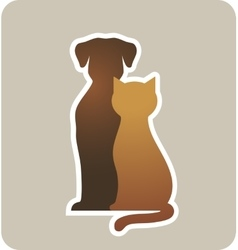 Dog and cat silhouettes vector