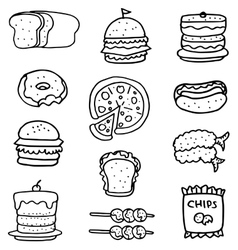Doodle of food with hand draw vector