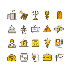 electricity signs color thin line icon set vector image
