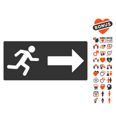 Emergency exit icon with valentine bonus vector