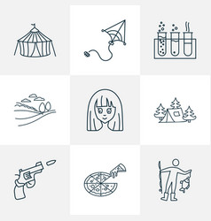 entertainment icons line style set with snowboard vector image