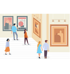 Exhibition visitors people walking and viewing vector