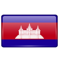 Flags Cambodia in the form of a magnet on vector image