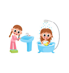 Flat girl washing brushing teeth set vector