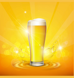foam on the glass with beer vector image