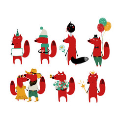 Funny set of red fox vector