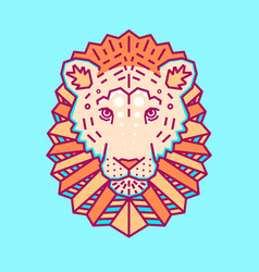 geometric head lion simple forms vector image