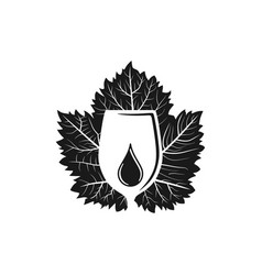 glass wine liquid drop and paper mint logo design vector image