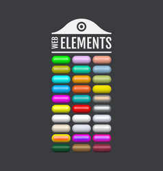 glossy web elements colored oval buttons for your vector image