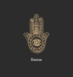 Hamsa image sketch magical symbol vector