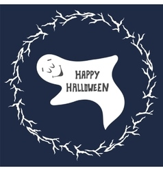 Happy Halloween card Scary ghost poster vector