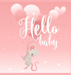 hello baphrase with cute little mouse cartoon vector image