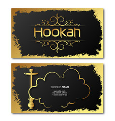 Hookah and shisha relax golden business card vector