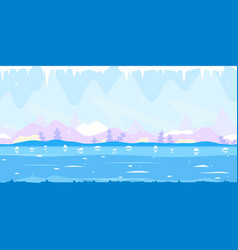 ice cave game background flat landscape vector image