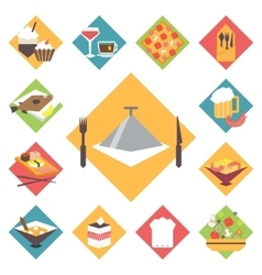 Icons flat set for cooking restaurant vector image