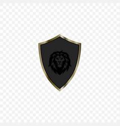 Image a knights shield with a lion silhouette vector