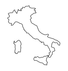 Italy map of black contour curves of vector