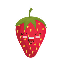 Kawaii strawberry icon vector