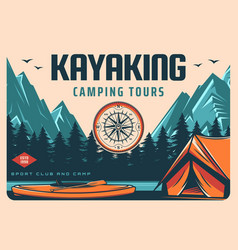 kayaking sport club camping and hiking tour banner vector image