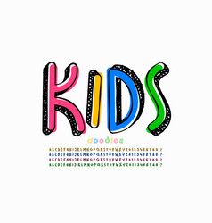 kids doodles style font vector image