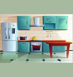 Kitchen interior wit wooden furniture cartoon vector