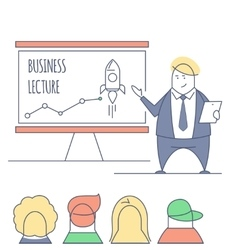 Line art business lecture vector
