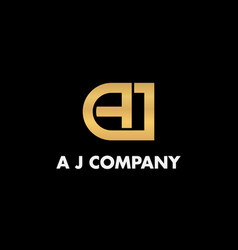 Logotype letter a j luxury and elegant company vector