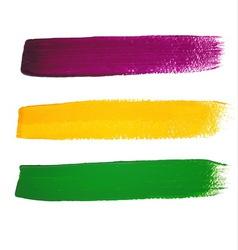 Mardi Gras watercolor brush strokes vector