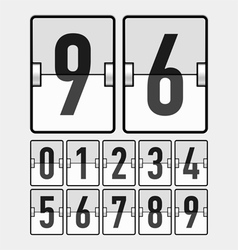 Mechanical timetable scoreboard display numbers vector image