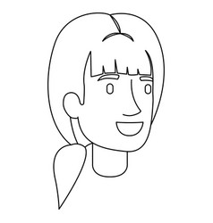 Monochrome silhouette of woman face with ponytail vector