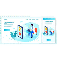 Online health consultation web doctor set vector