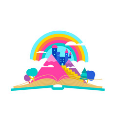 Open book with magic fairy tale castle concept vector