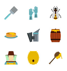 organic raw honey icons set flat style vector image