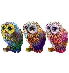 owl wall sticker set 3 artistic owls vector image