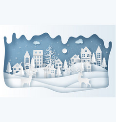 Paper art style reindeer in village in vector