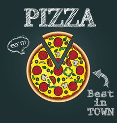 pizza hand drawn pizza pizza poster vector image