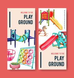 Playground flyer design with jungle gym slide vector
